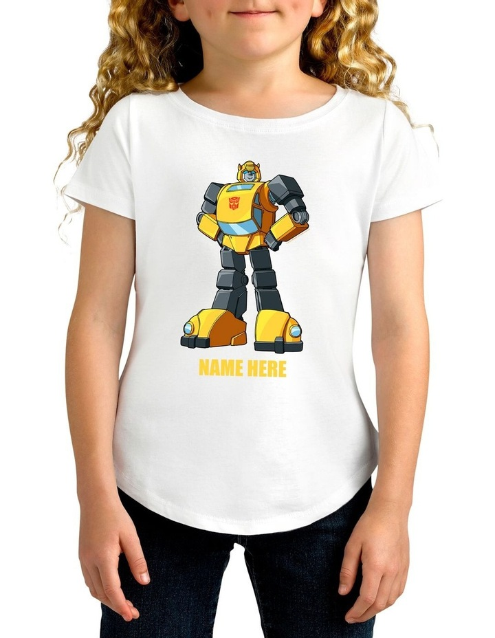 Girl's Transformers Bumblebee Standing Strong Personalised Cotton T-Shirt image 1