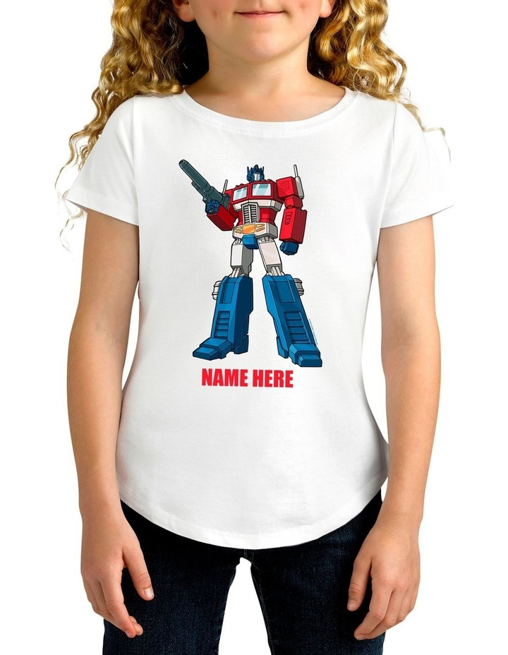 Girl's Transformers Optimus Prime Standing Strong Personalised Cotton T-Shirt image 1