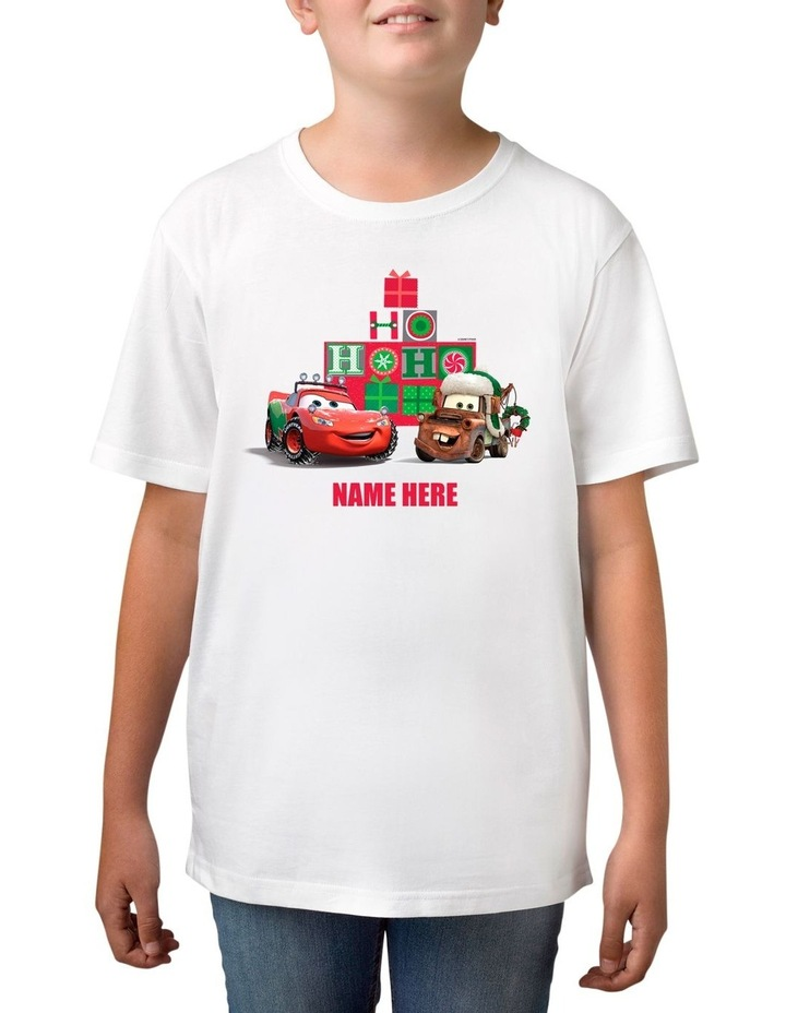 Boy's Disney Cars Xmas Personalised Cotton T-Shirt image 1