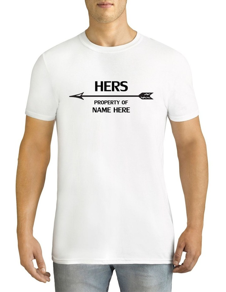 Men's Valentine's Day Her Property Left Arrow Personalised Cotton T-Shirt image 1