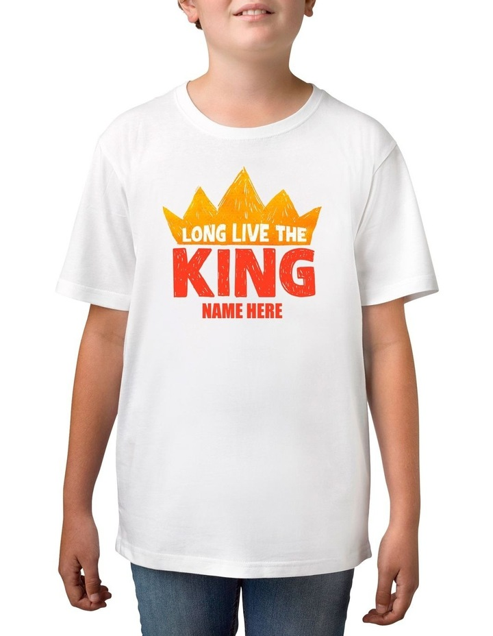 Boy's Long Live King Personalised Cotton T-Shirt image 1