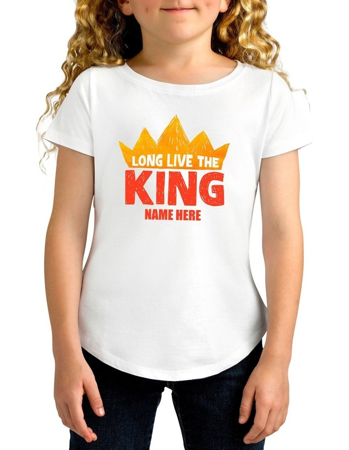Girl's Long Live King Personalised Cotton T-Shirt image 1