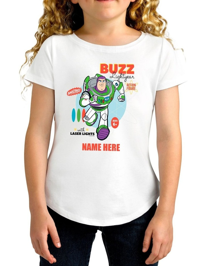 Girl's Toy Story 4 Buzz Lightyear Personalised Cotton T-Shirt image 1