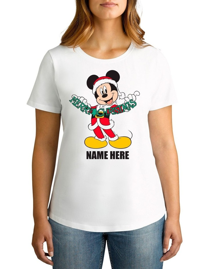 Women's Mickey Mouse Xmas Personalised Cotton T-Shirt image 1