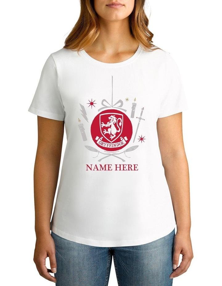 Women's Harry Potter Gryffindor Xmas Personalised Cotton T-Shirt image 1