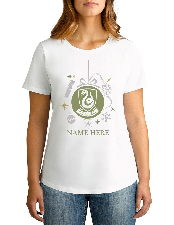 Women's Harry Potter Slytherin Xmas Personalised Cotton T-Shirt image 1