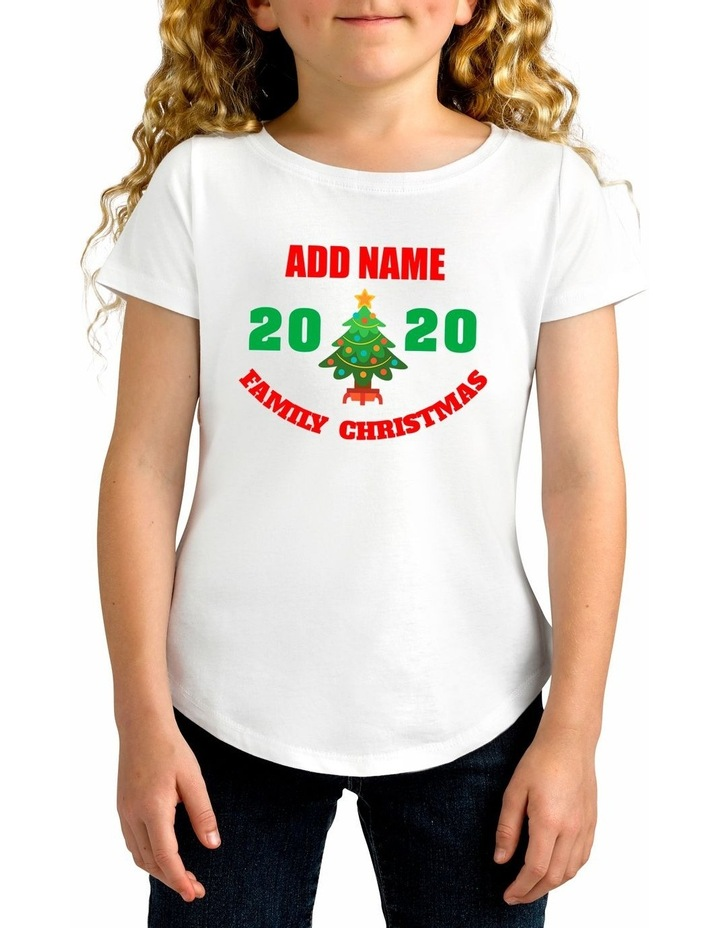 Girl's 2020 Family Christmas Personalised Cotton T-Shirt image 1
