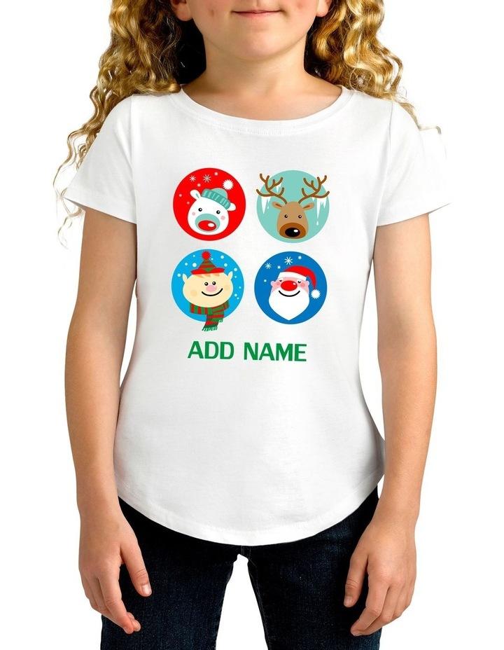 Girl's Xmas 4 Circle Personalised Cotton T-Shirt image 1