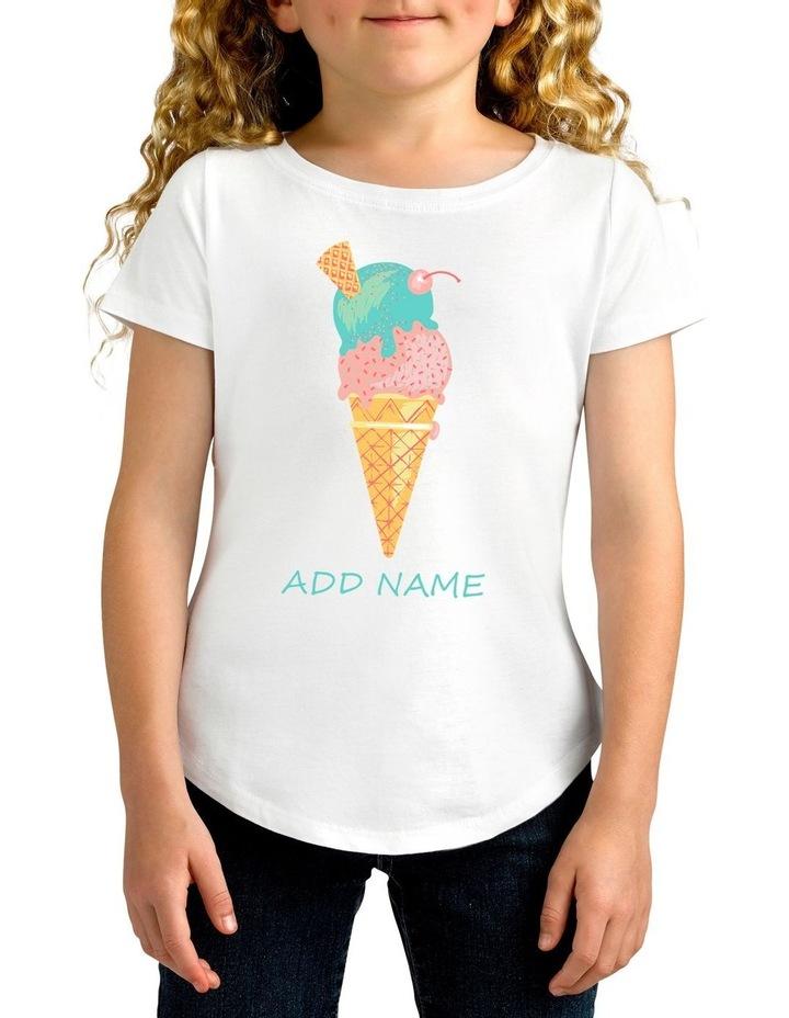 Girl's Ice Cream Personalised Cotton T-Shirt image 1