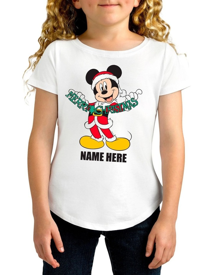 Girl's Mickey Mouse Xmas Personalised Cotton T-Shirt image 1
