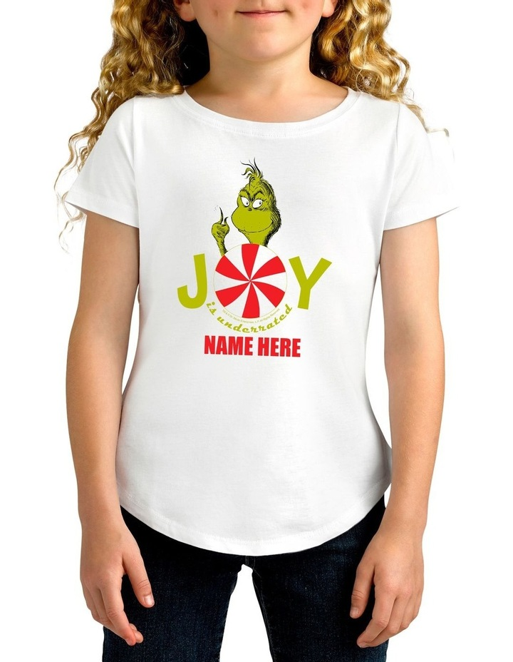 Girl's Dr Seuss The Grinch Joy Personalised Cotton T-Shirt image 1