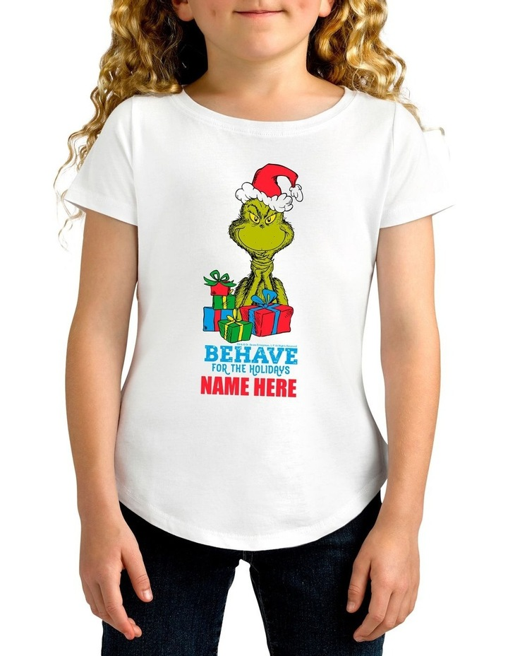 Girl's Dr Seuss The Grinch Behave Personalised Cotton T-Shirt image 1