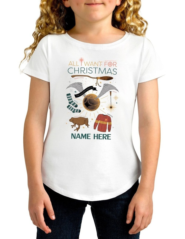 Girl's Harry Potter Xmas Personalised Cotton T-Shirt image 1