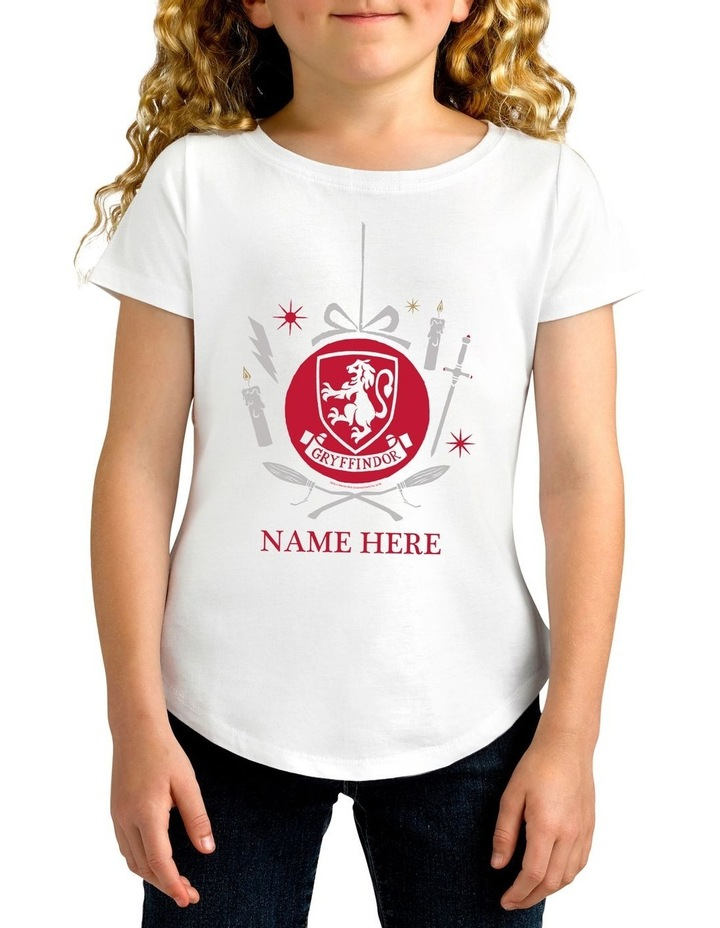 Girl's Harry Potter Gryffindor Xmas Personalised Cotton T-Shirt image 1