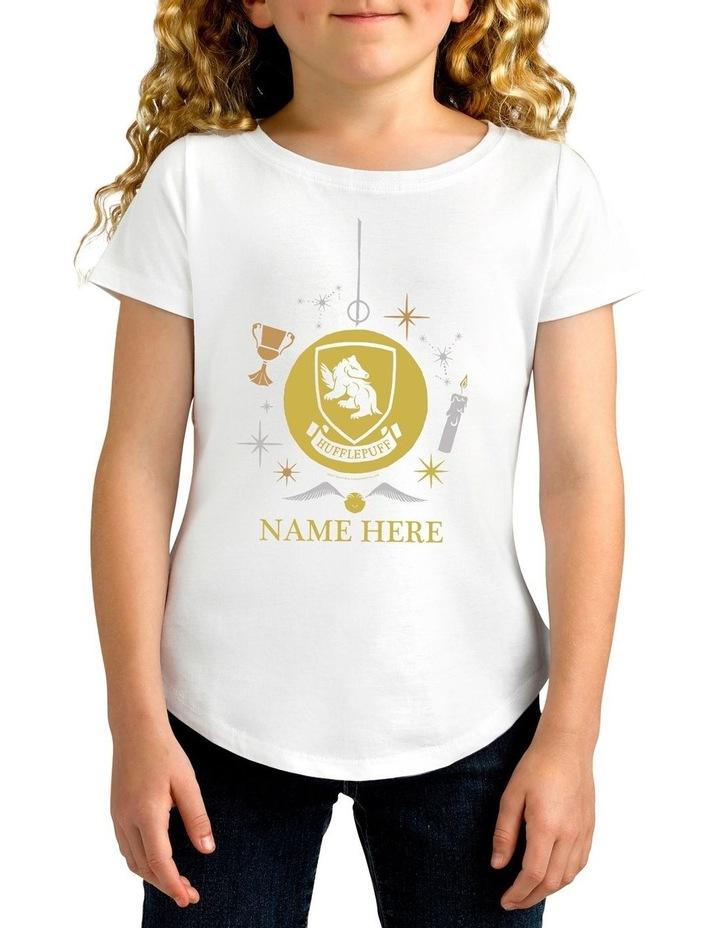 Girl's Harry Potter Hufflepuff Xmas Personalised Cotton T-Shirt image 1