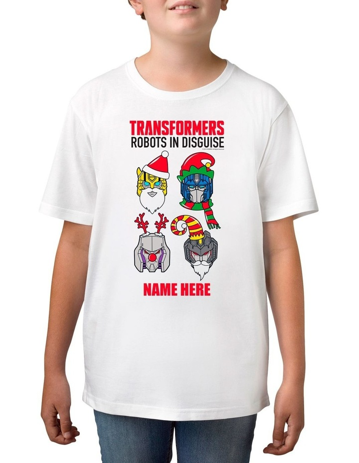 Boy's Transformers Xmas Personalised Cotton T-Shirt image 1
