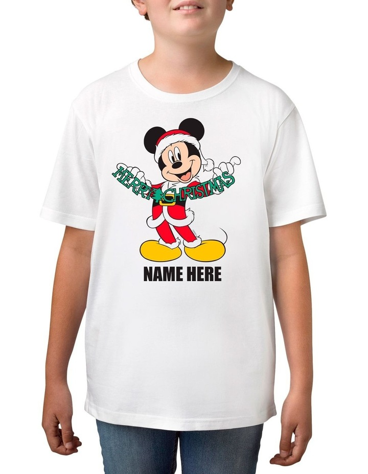 Boy's Mickey Mouse Xmas Personalised Cotton T-Shirt image 1