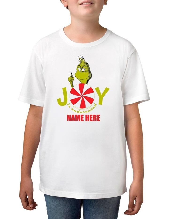 Boy's Dr Seuss The Grinch Joy Personalised Cotton T-Shirt image 1