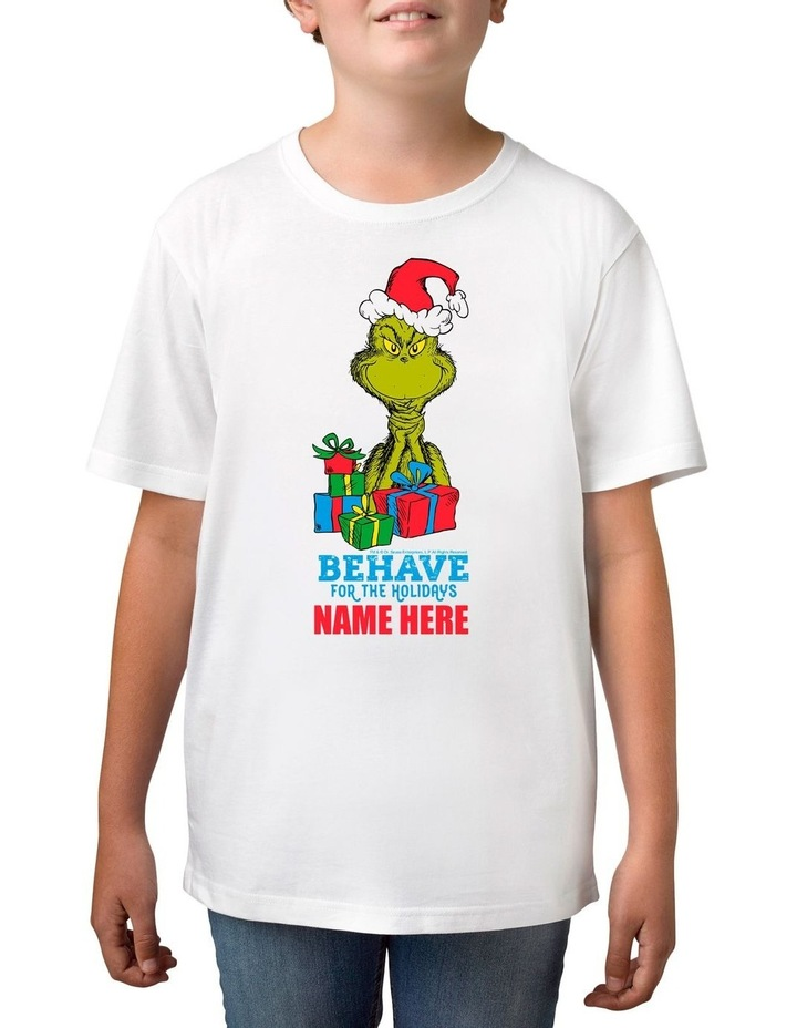 Boy's Dr Seuss The Grinch Behave Personalised Cotton T-Shirt image 1