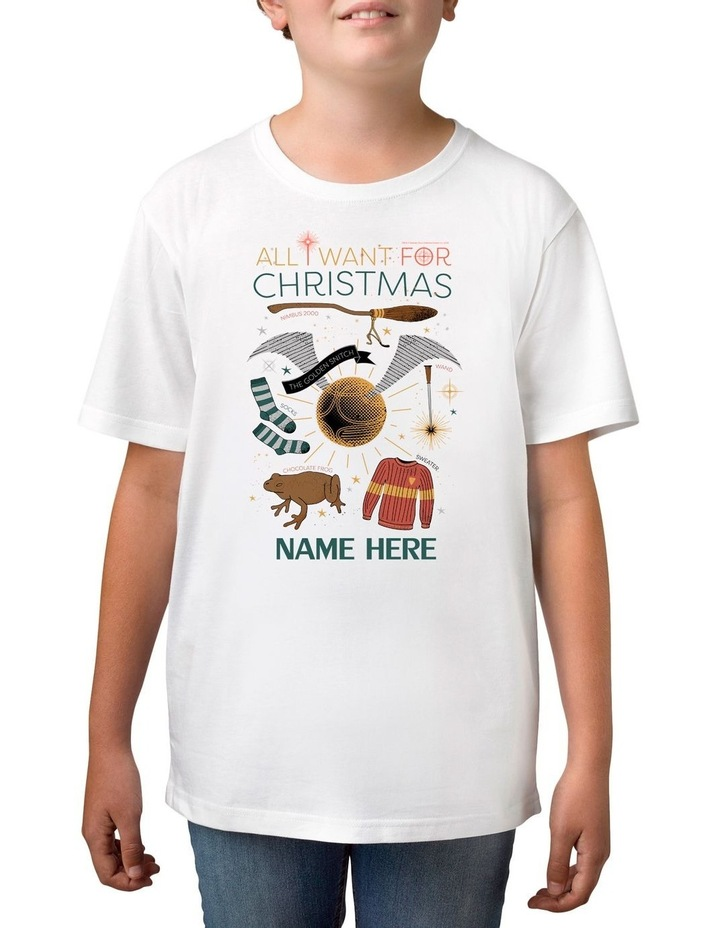 Boy's Harry Potter Xmas Personalised Cotton T-Shirt image 1