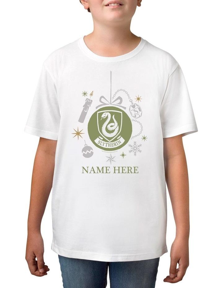 Boy's Harry Potter Slytherin Xmas Personalised Cotton T-Shirt image 1