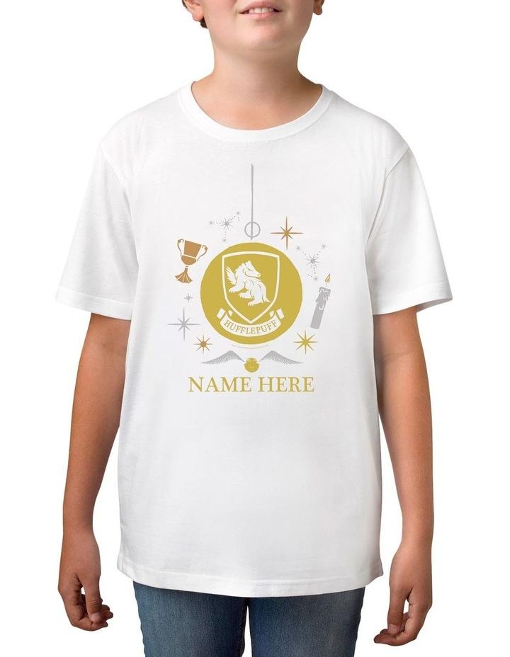 Boy's Harry Potter Hufflepuff Xmas Personalised Cotton T-Shirt image 1