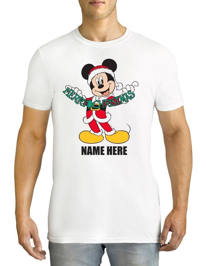 Twidla Men's Mickey Mouse Xmas Personalised Cotton T-Shirt image 1