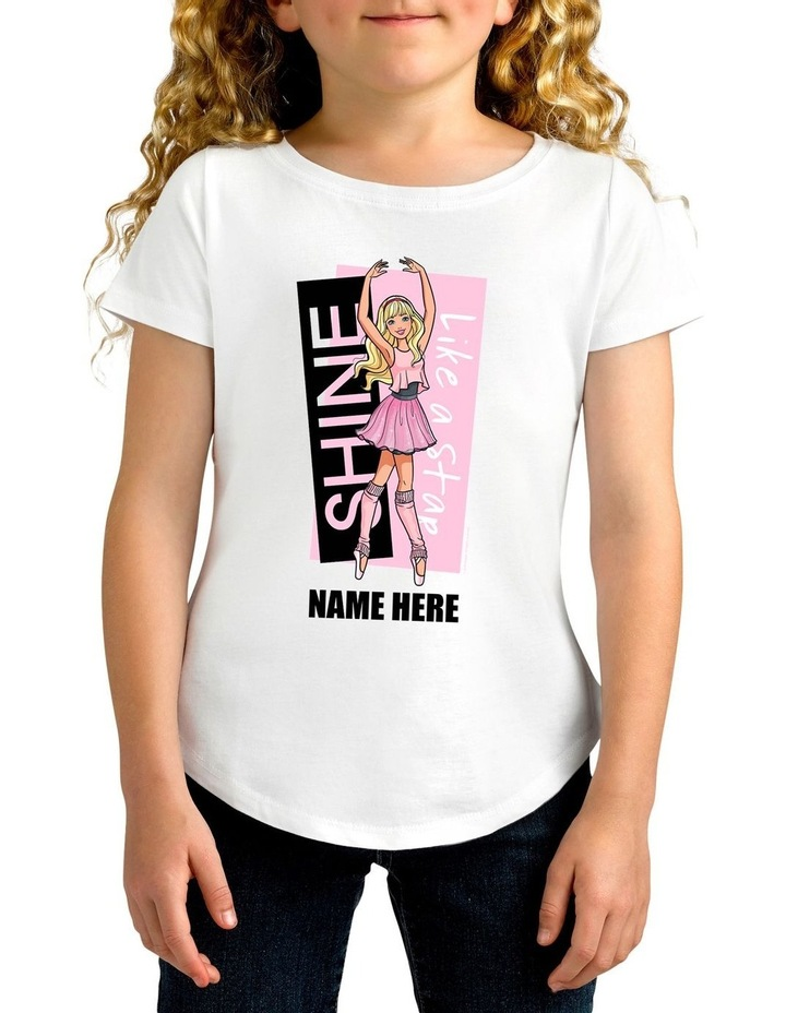 Girl's Barbie Follow Your Ballet Dreams Personalised Cotton T-Shirt image 1