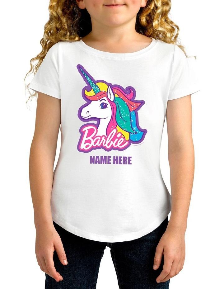 Girl's Barbie Unicorn Personalised Cotton T-Shirt image 1