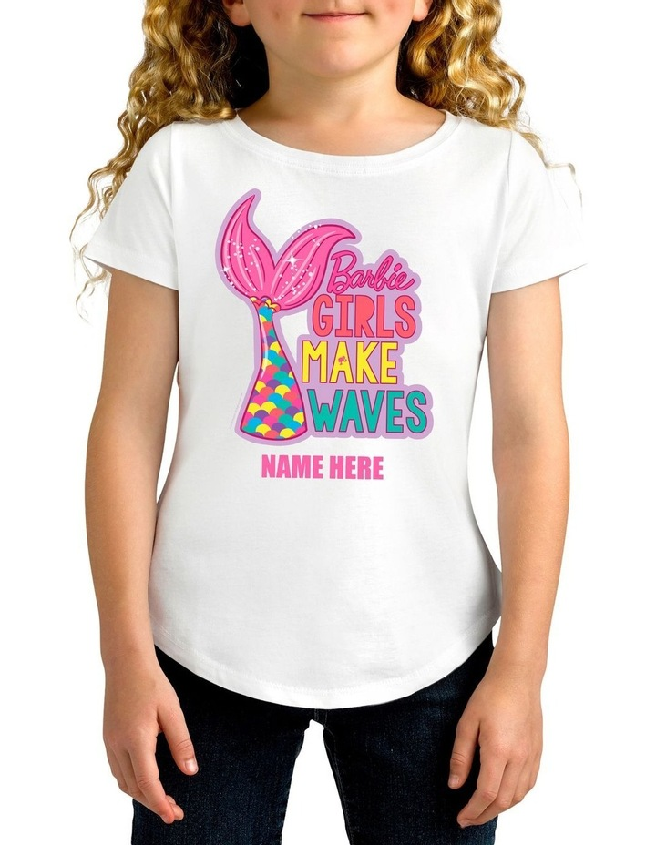 Girl's Barbie Girl's Make Waves Personalised Cotton T-Shirt image 1