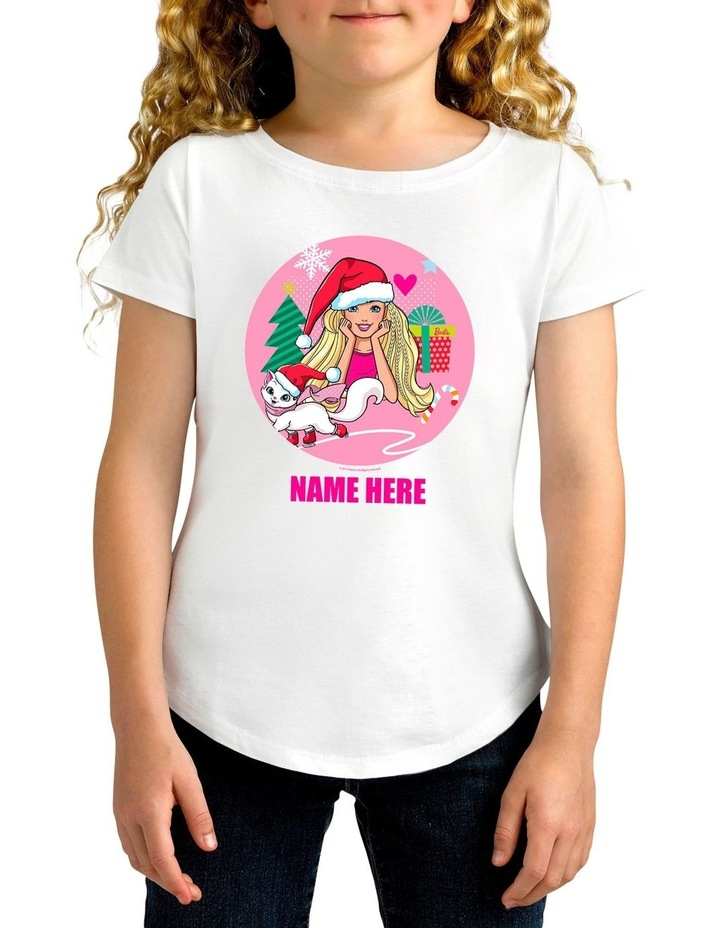 Girl's Barbie Christmas Cat Personalised Cotton T-Shirt image 1