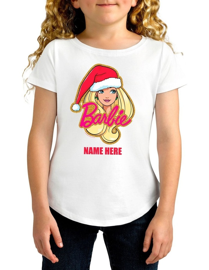 Girl's Barbie Xmas Hat Personalised Cotton T-Shirt image 1