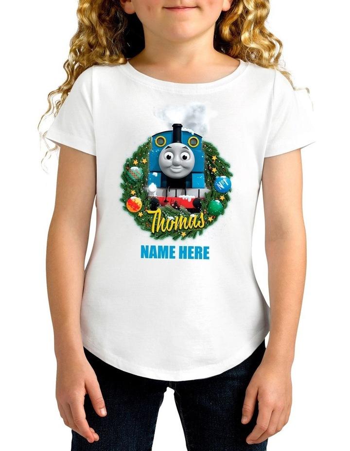 Girl's Thomas The Tank Xmas Personalised Cotton T-Shirt image 1