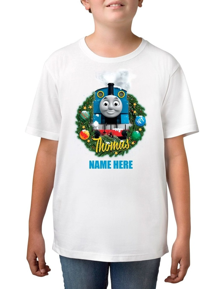 Boy's Thomas The Tank Xmas Personalised Cotton T-Shirt image 1