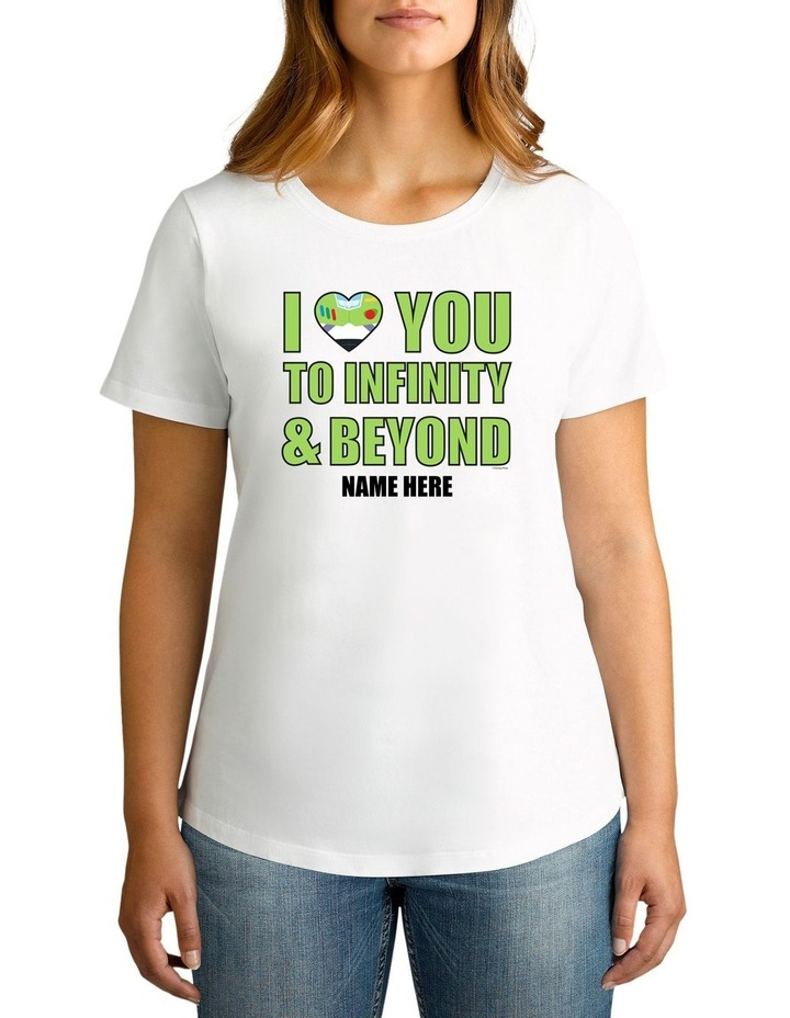 Women's Valentine's Day Toy Story Infinity & Beyond Personalised Cotton T-Shirt image 1