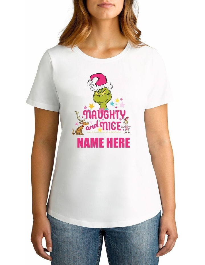 Women's Dr Seuss Naughty & Nice Personalised Cotton T-Shirt image 1
