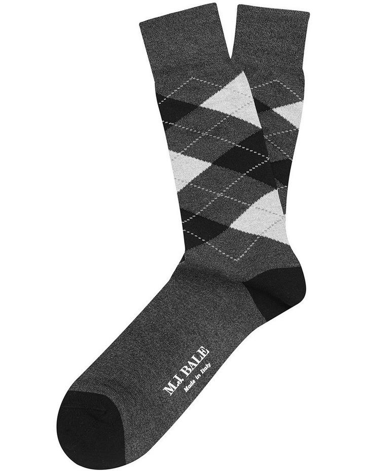 Vesalla Argyle Sock Charcoal/Black image 1
