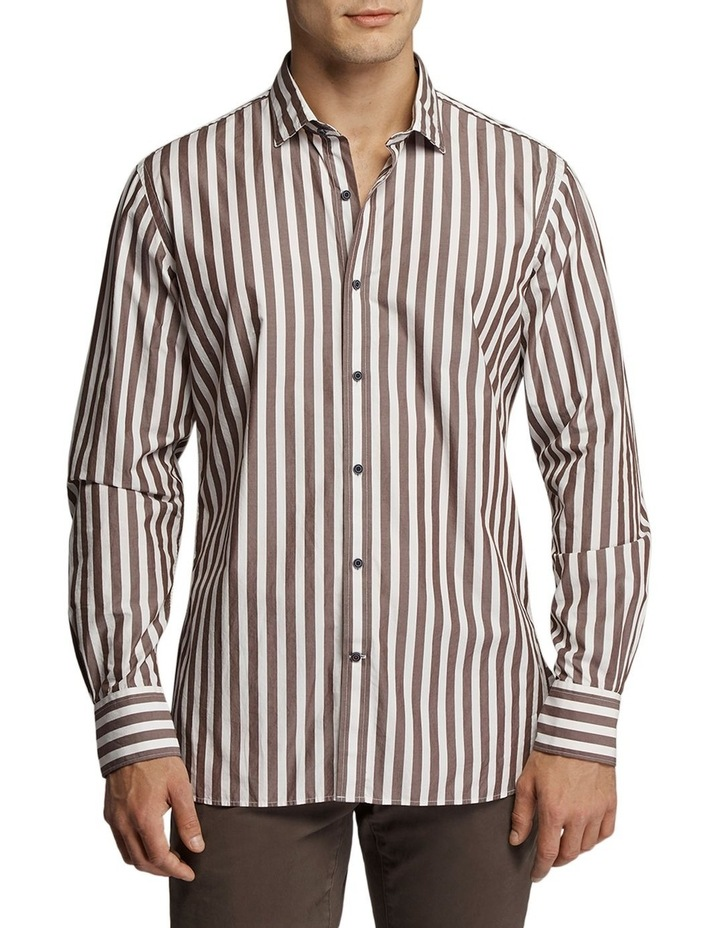 Princeston Stripe Shirt Brown/White image 1