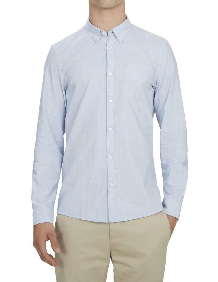 Pale Blue Melange Custom Fit Shirt image 1