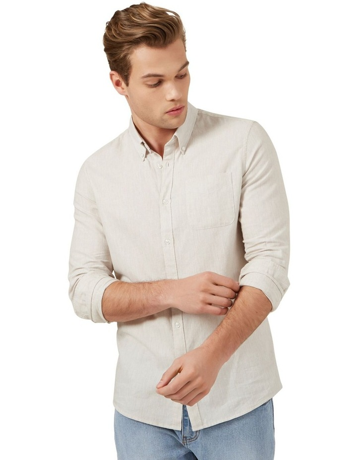 Oatmeal Melange Custom Fit Shirt image 1