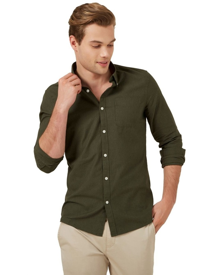 Khaki Melange L/S Custom Fit Shirt image 1