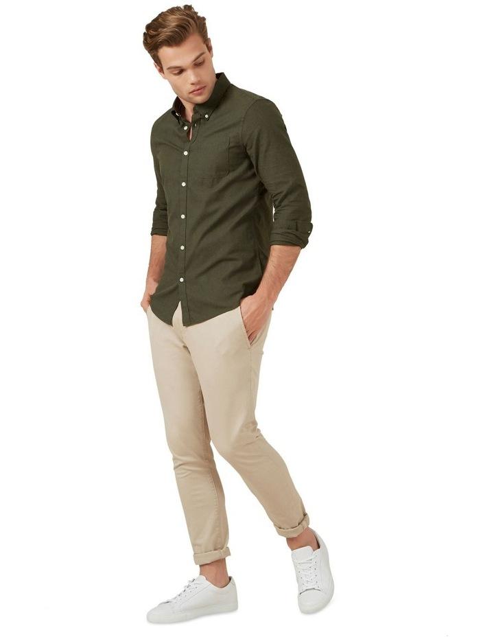 Khaki Melange L/S Custom Fit Shirt image 2