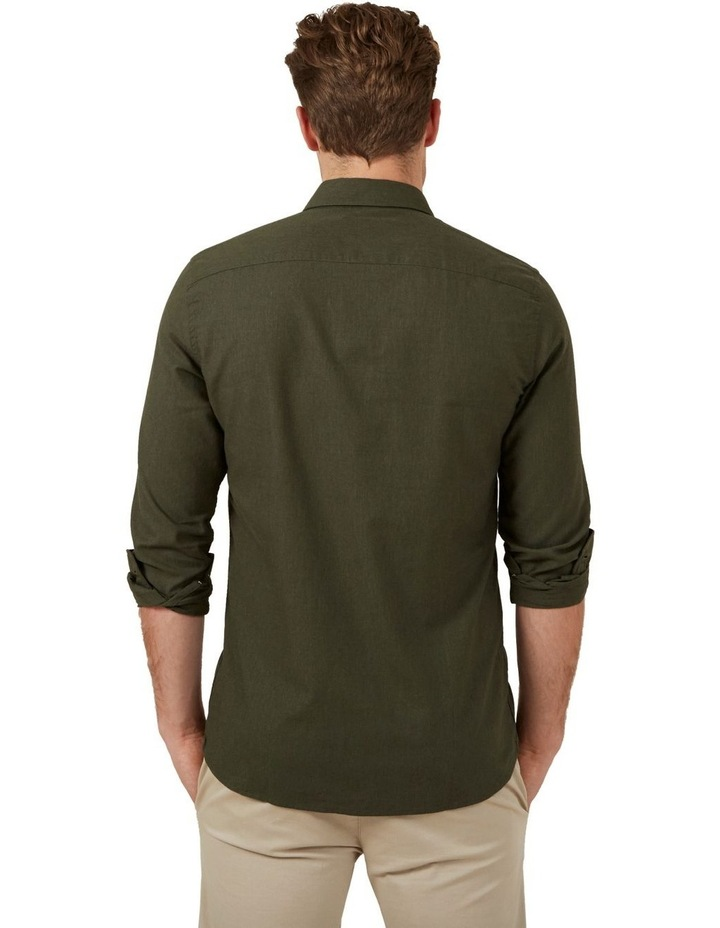 Khaki Melange L/S Custom Fit Shirt image 3