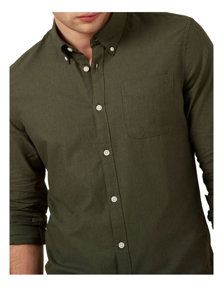 Khaki Melange L/S Custom Fit Shirt image 4