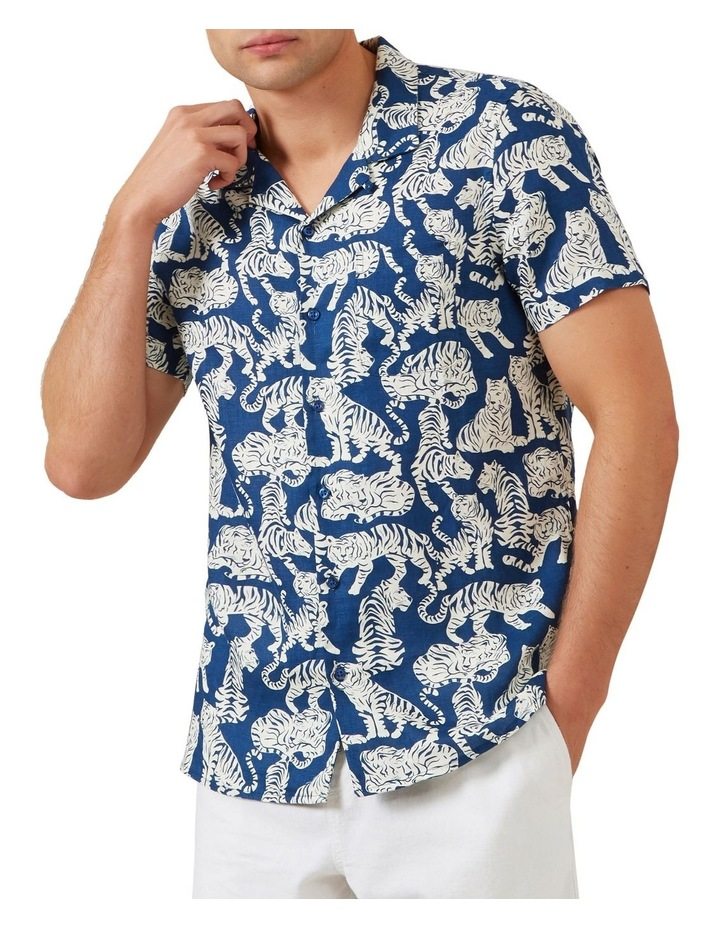 Tiger Linen Short Sleeve Classic Fit Shirt image 1