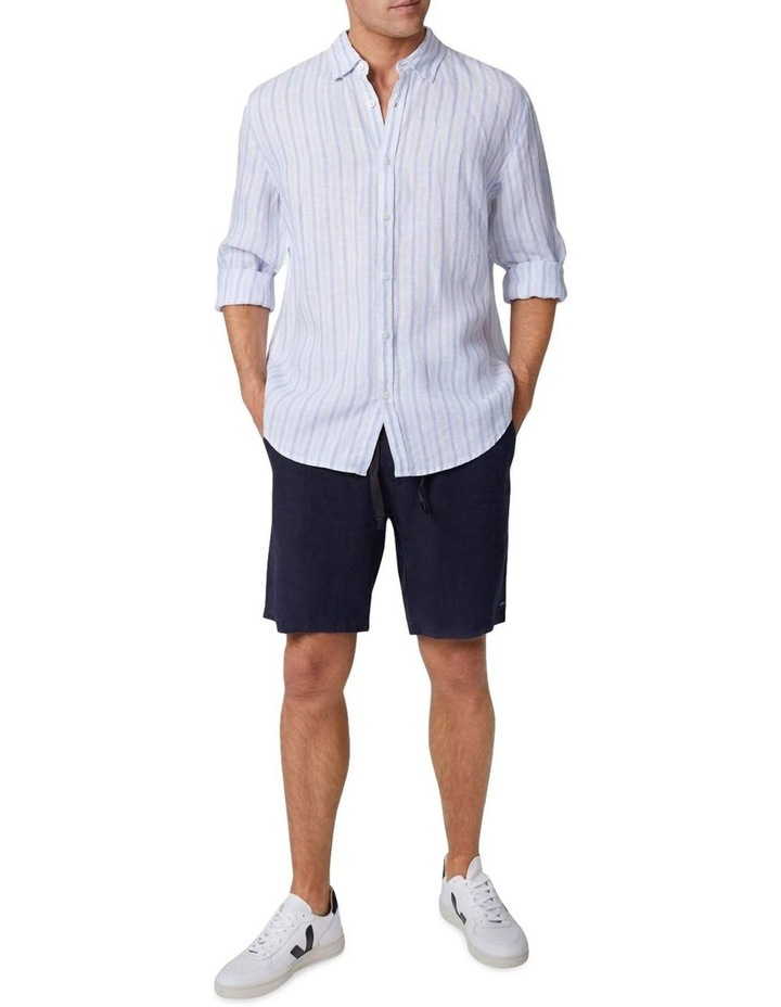 The West Cay Linen Long Sleeve Shirt - Off white Blue image 1