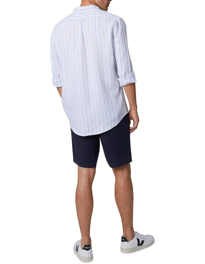 The West Cay Linen Long Sleeve Shirt - Off white Blue image 2