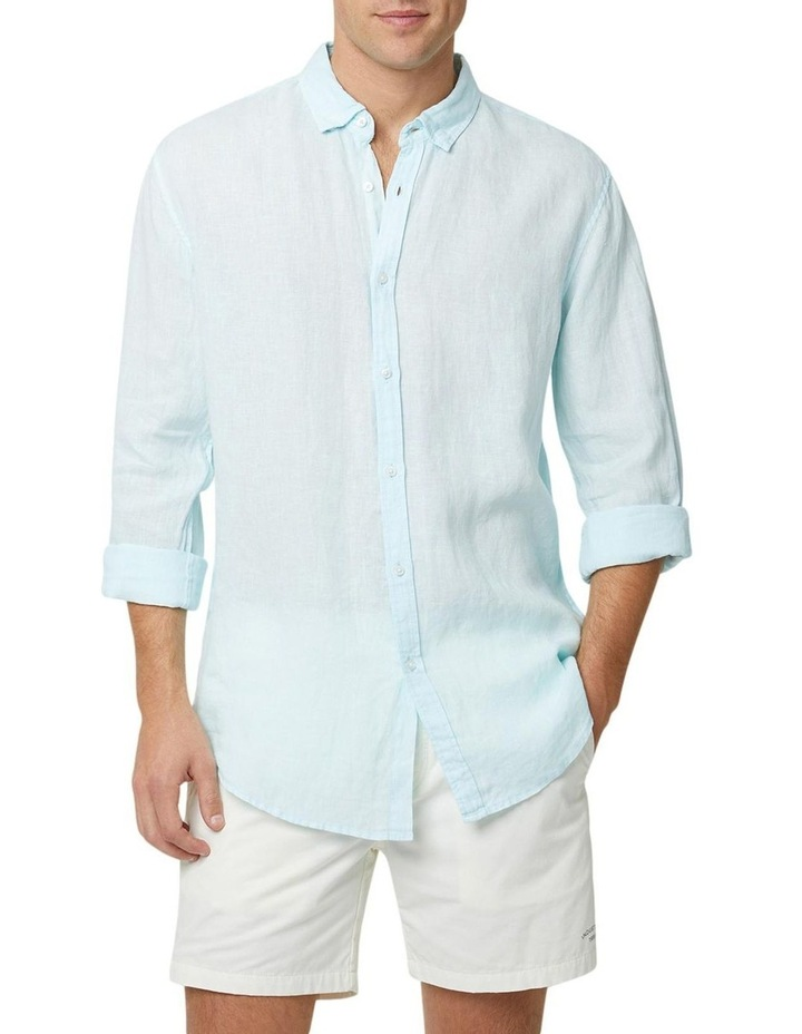 The Tennyson Linen Long Sleeve Shirt - Aqua image 1