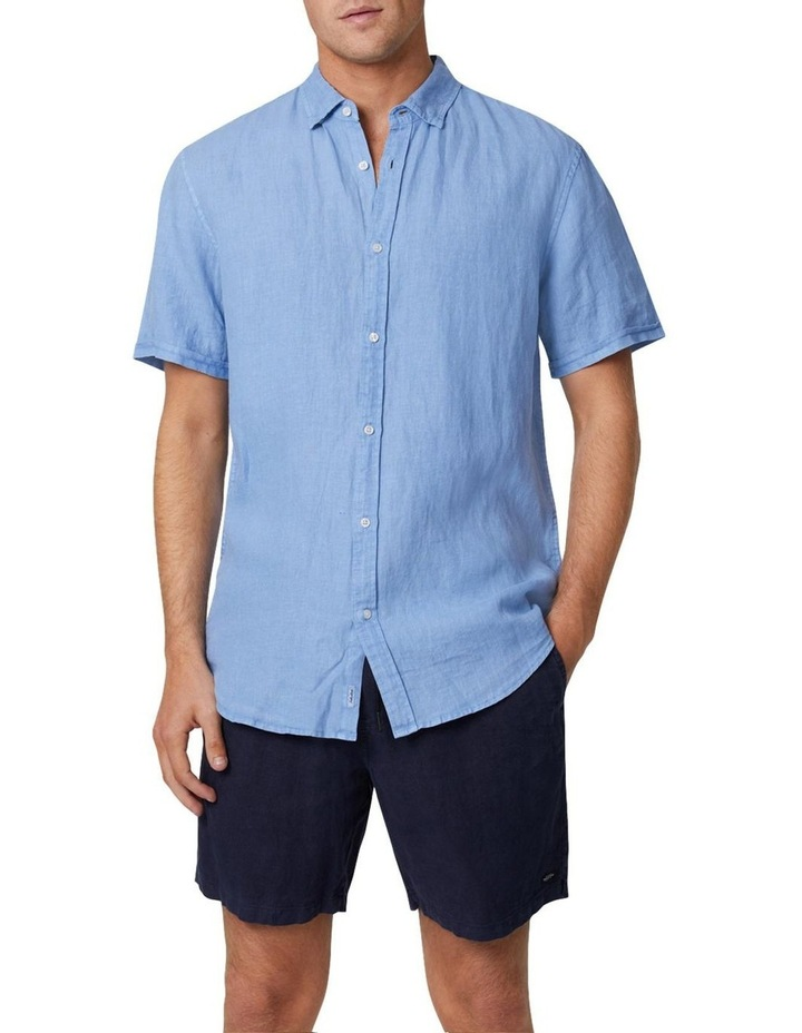 The Tennyson Linen Short Sleeve Shirt - Denim image 1
