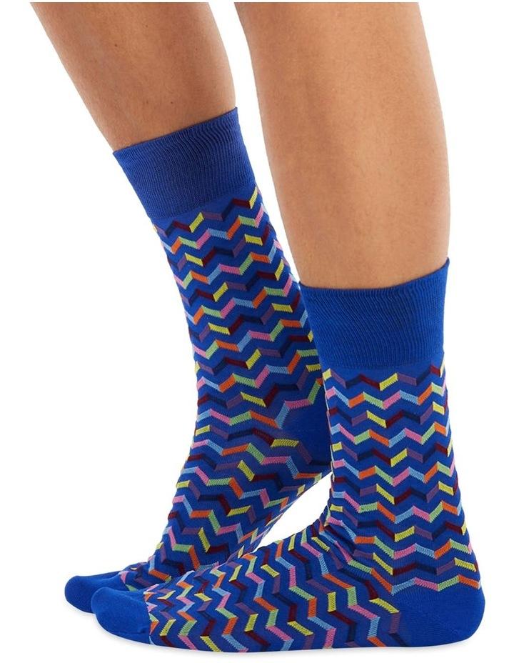 Men's Socks in Blue zigzag print image 1